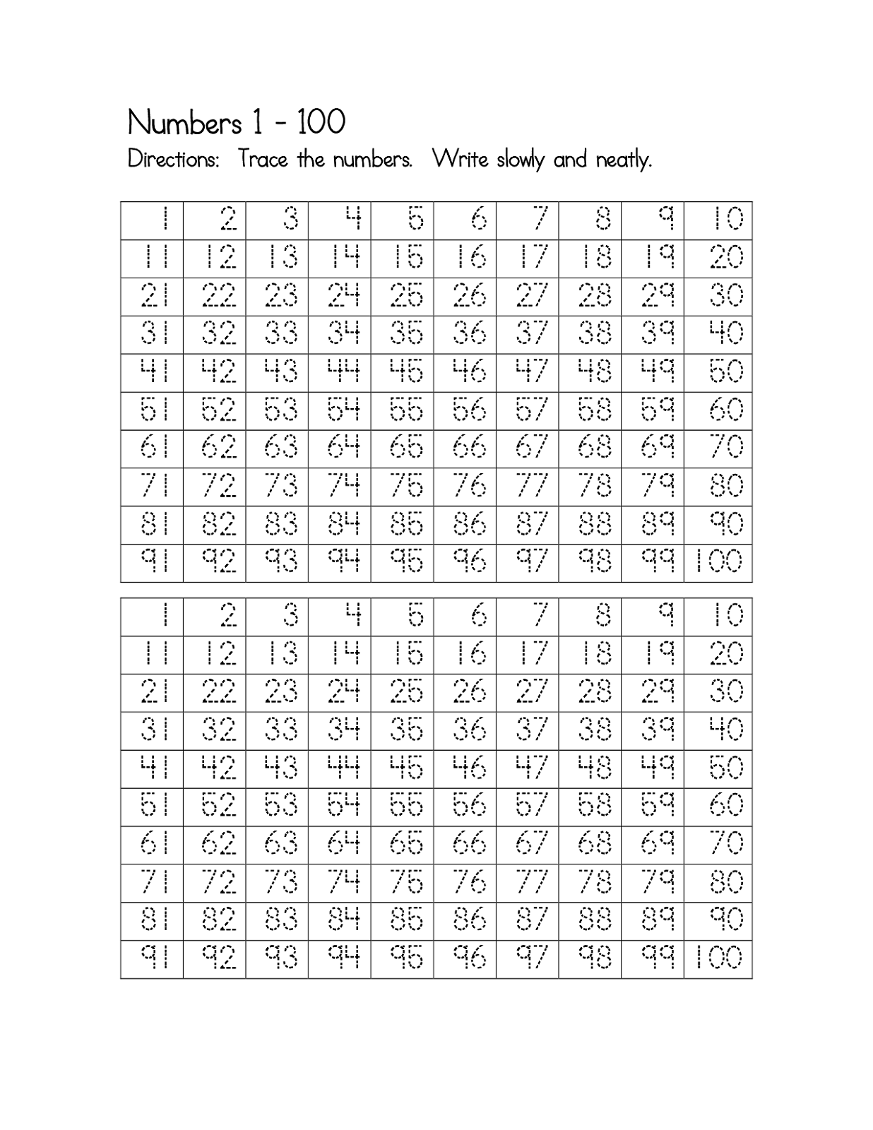 Number Worksheets 1 100 Printable