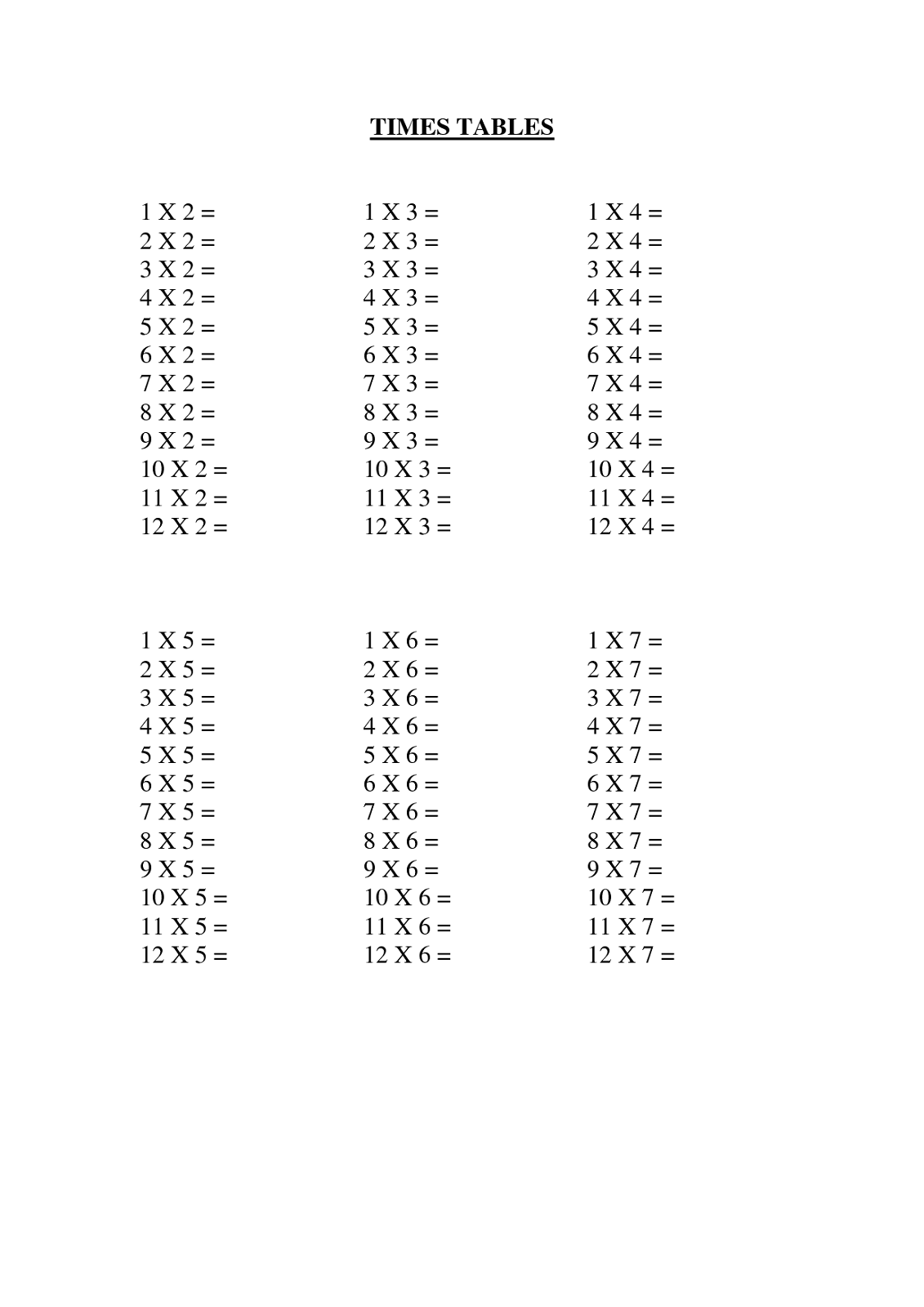Times Table Practice Sheets