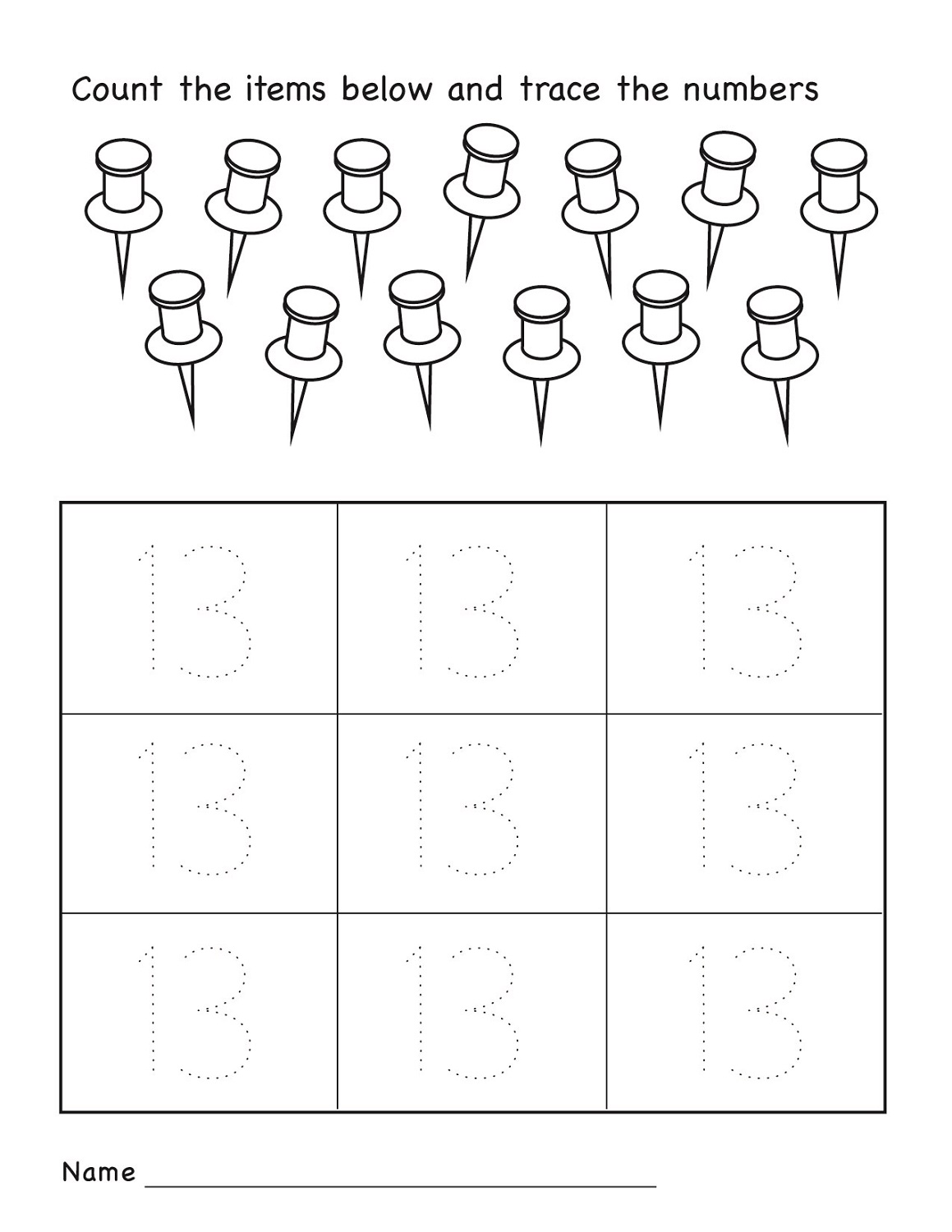 Number 13 Worksheets To Print