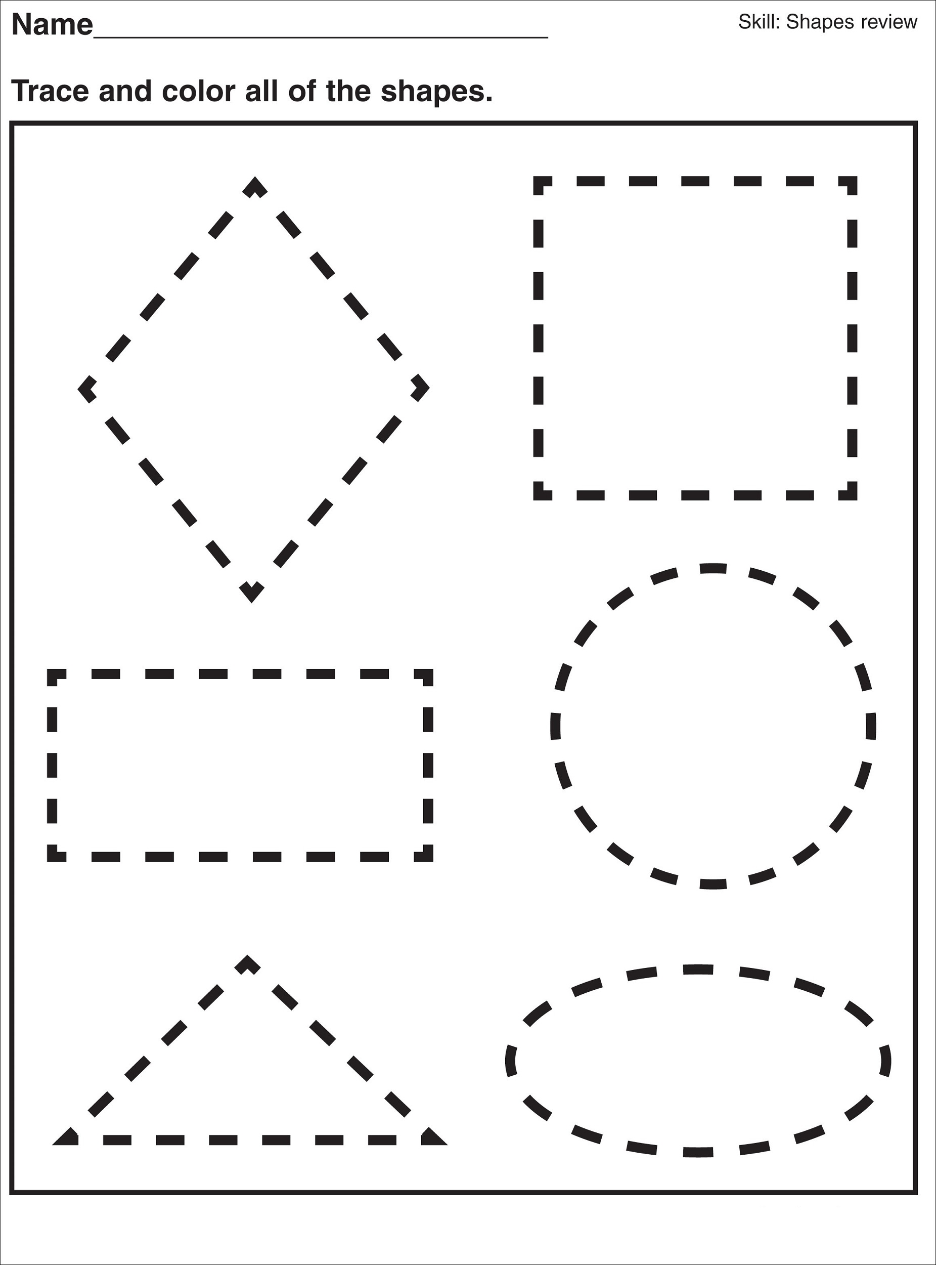 Oval Preschool Worksheet Trace And Color