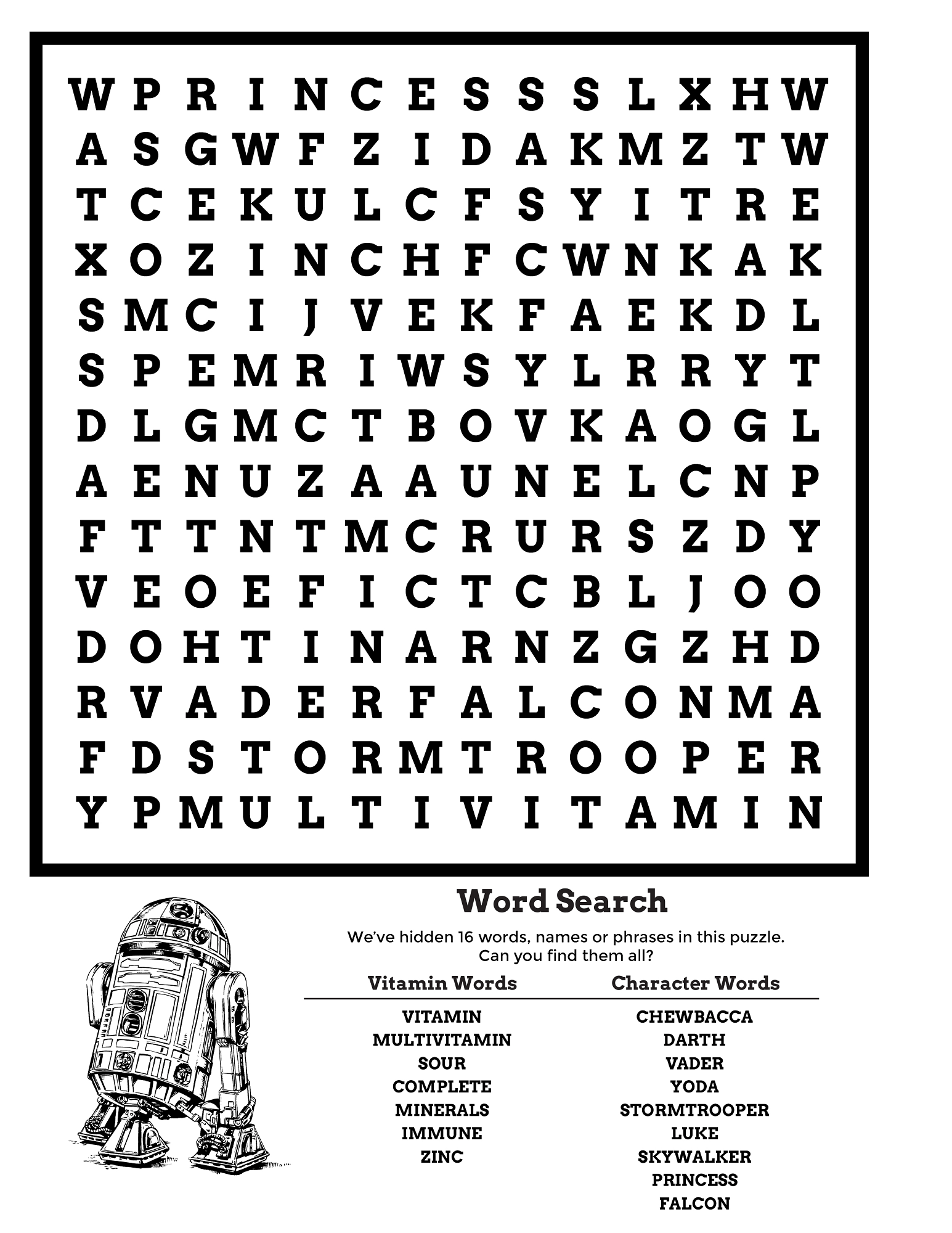Star Wars Word Search Puzzle 2017 Activity Shelter