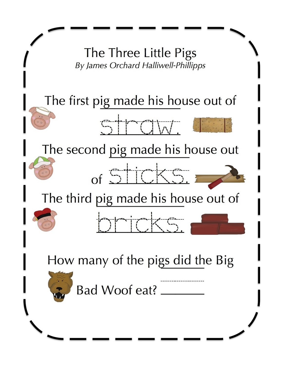 Printable Three Little Pigs Worksheets