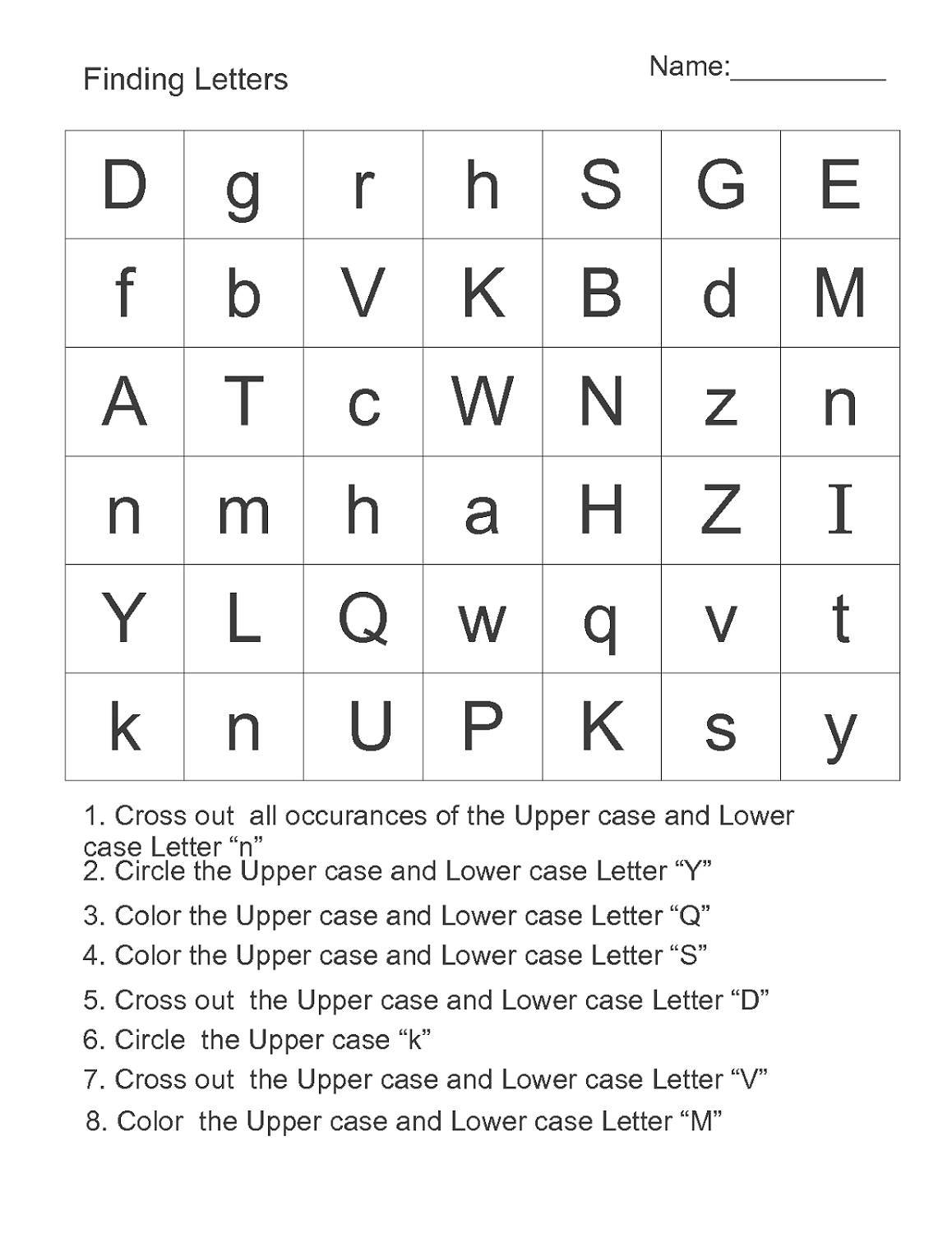 Alphabet Letter Worksheets Free
