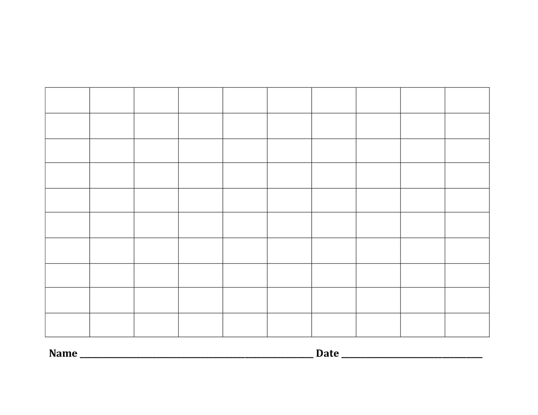 Printable Blank Number Charts 1 100