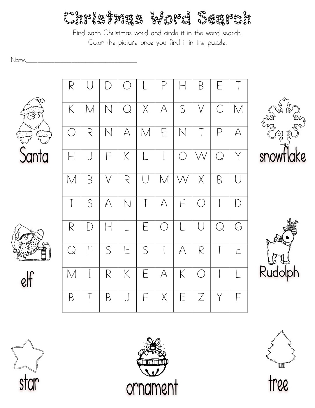 Free Kids Word Searches