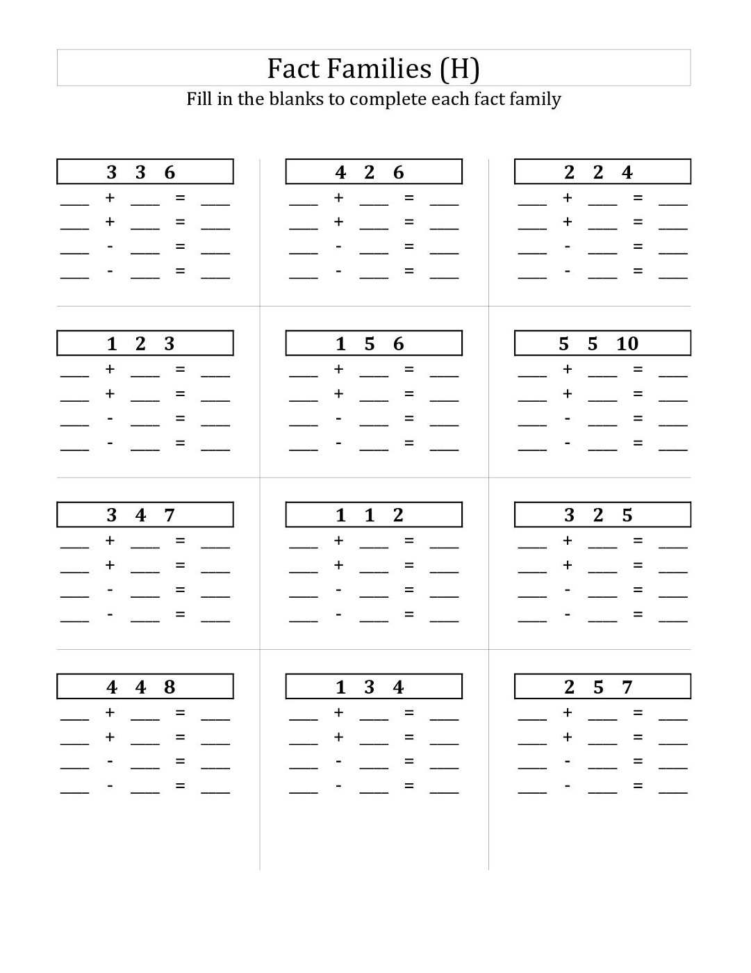 Easy Fact Families Worksheets