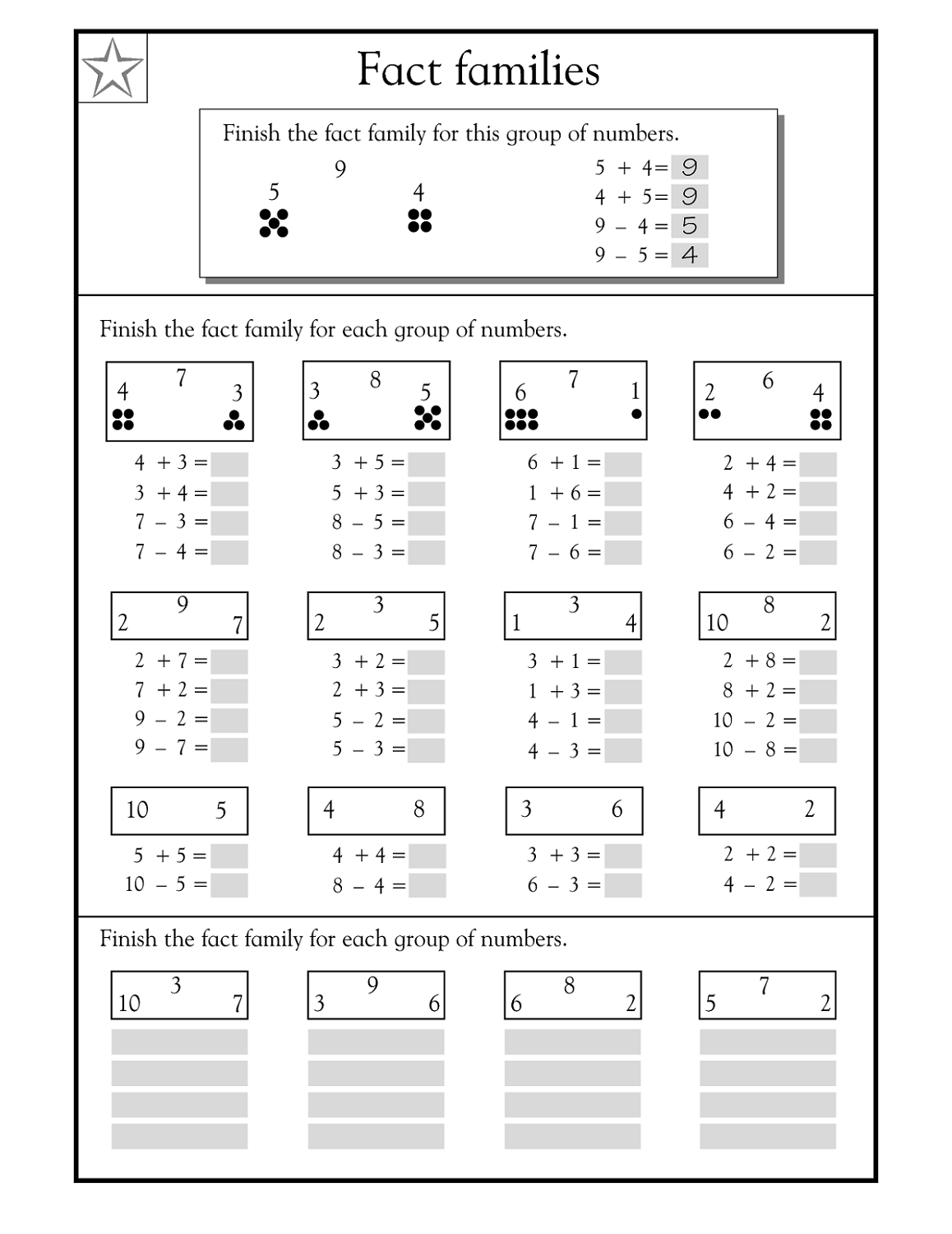 Free Fact Family Worksheets