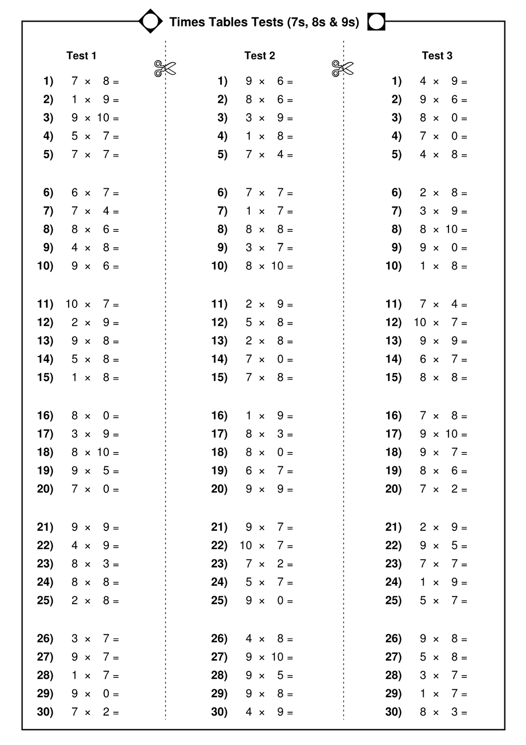 Printable Times Table Worksheets Easy