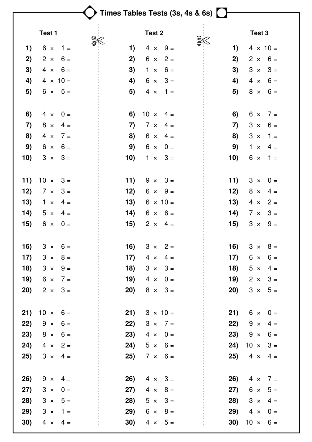 Free Times Table Worksheets
