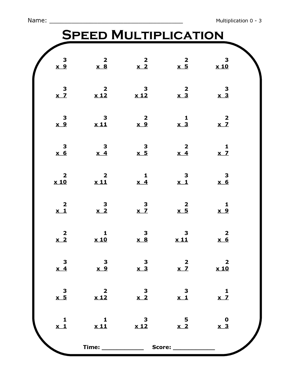 Time Table Worksheet For Practice