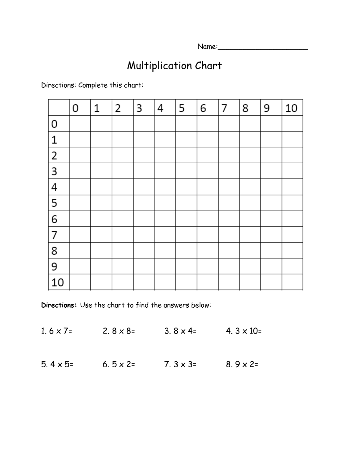 4 Column Worksheet Printable 1 100