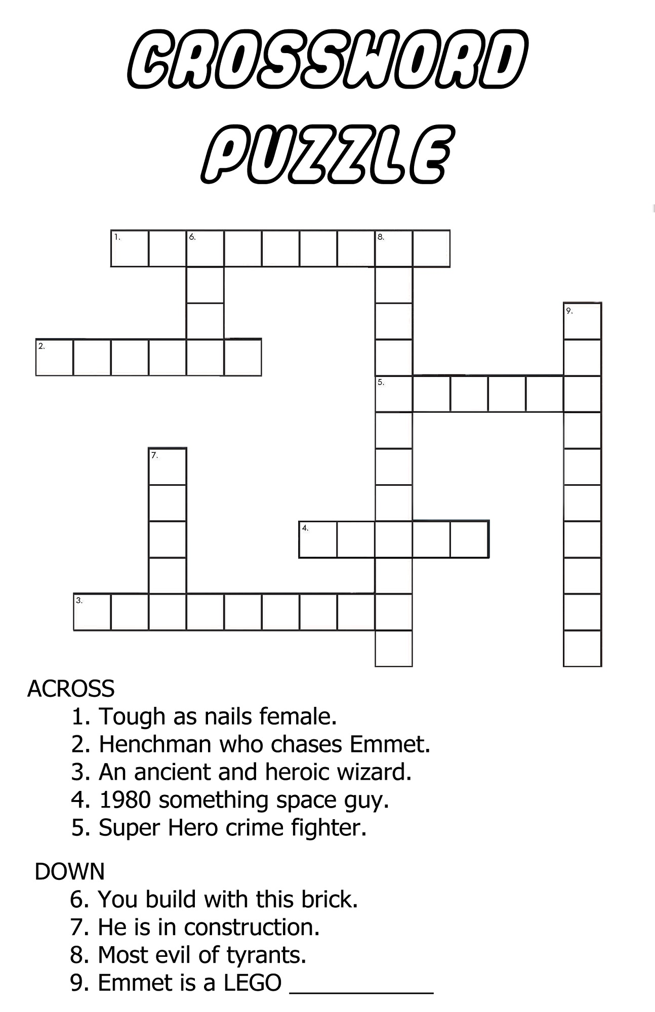 Very Easy Crossword Puzzles Free Activity Shelter
