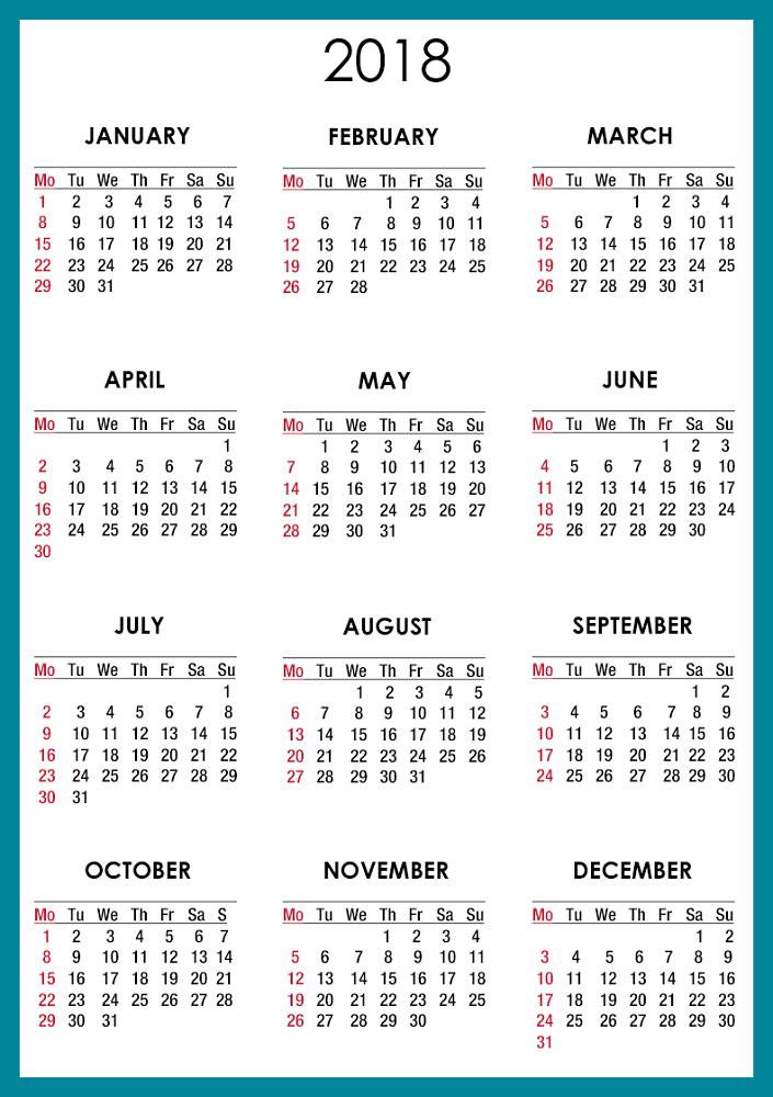 calendar template 2018 17
