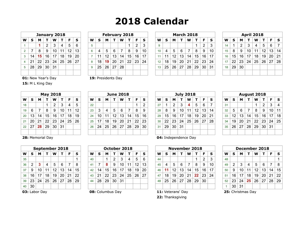 Yearly Calendars With Holidays