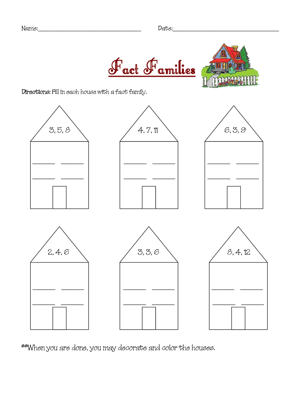 First Grade Fact Family Worksheets