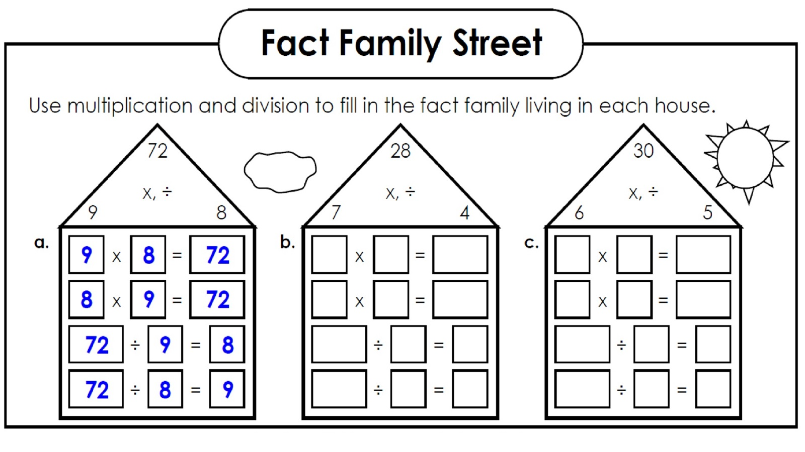 Math Fact Families Worksheets
