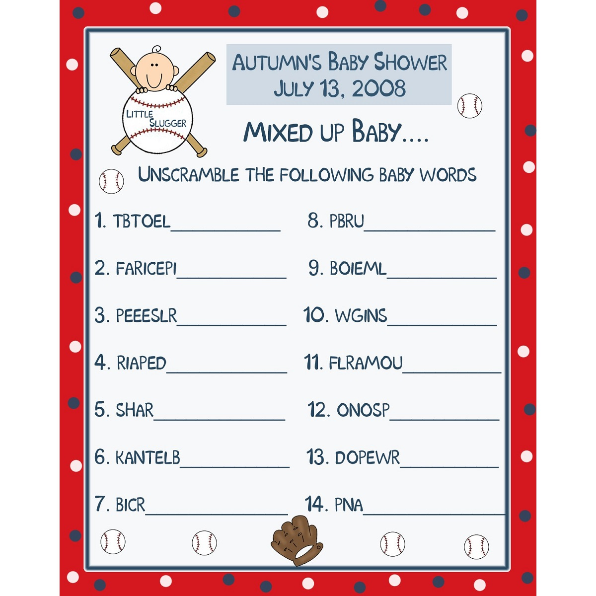 Printable Baseball Word Games