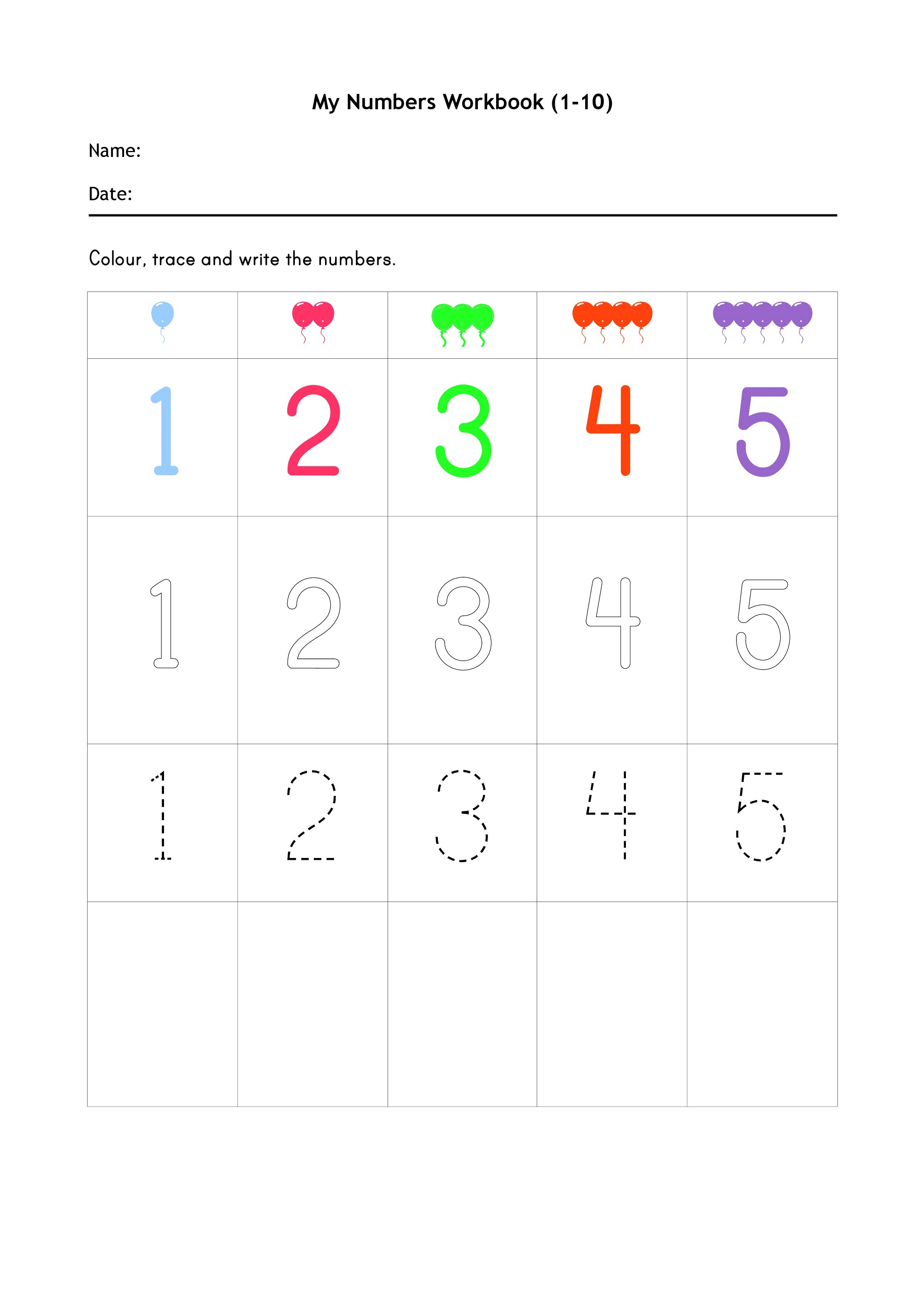 Reception Maths Worksheets Printable