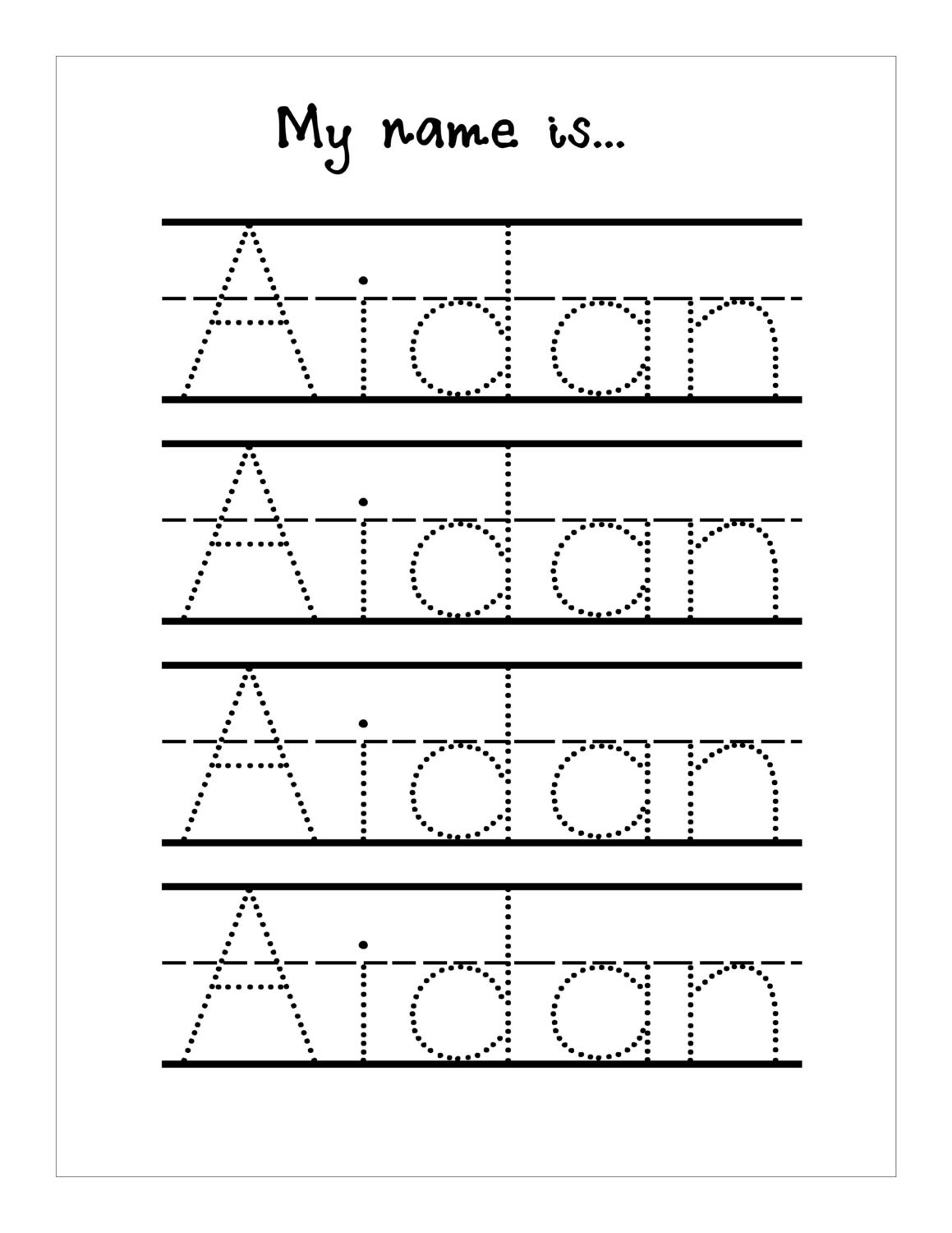 Handwriting Practice With Trace Name Worksheets