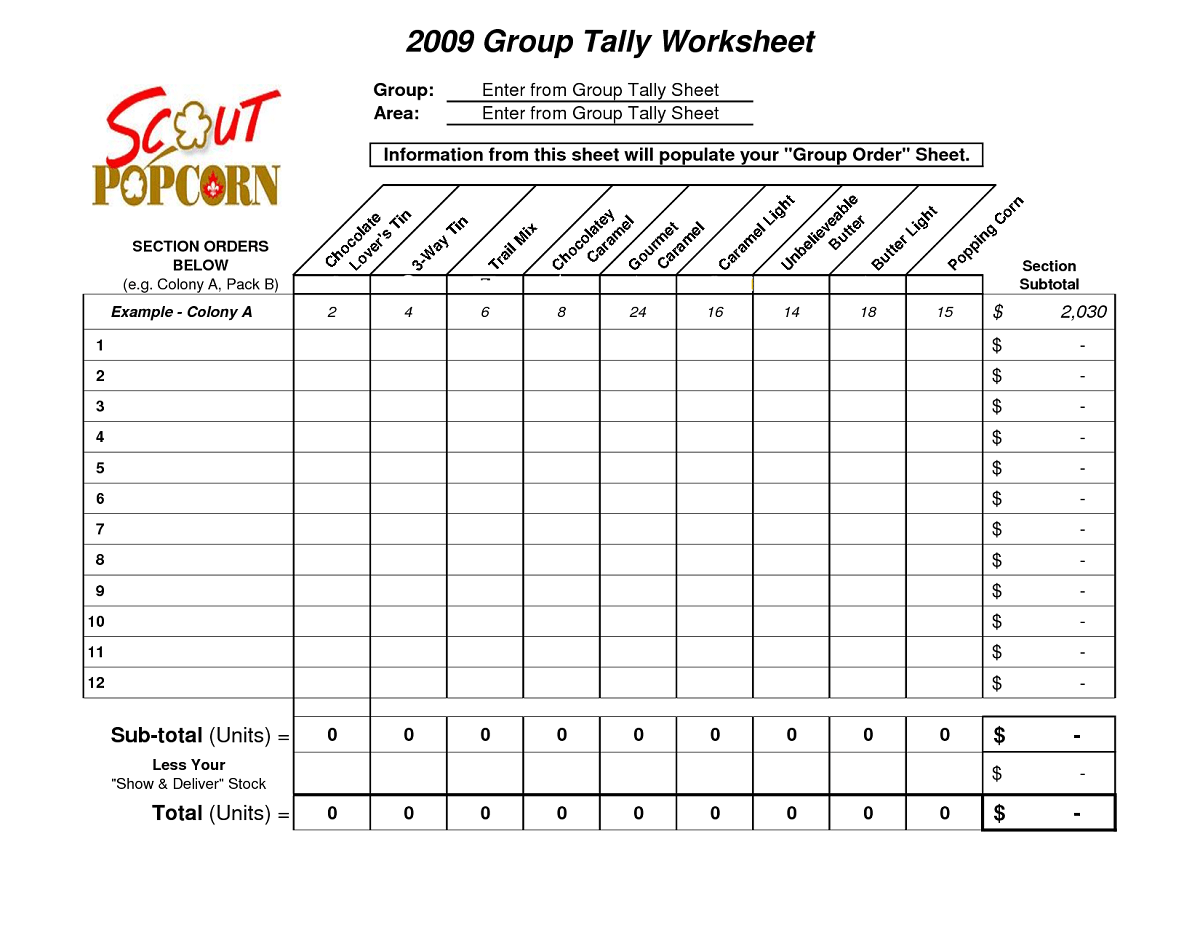 Tally Chart Worksheet Printable