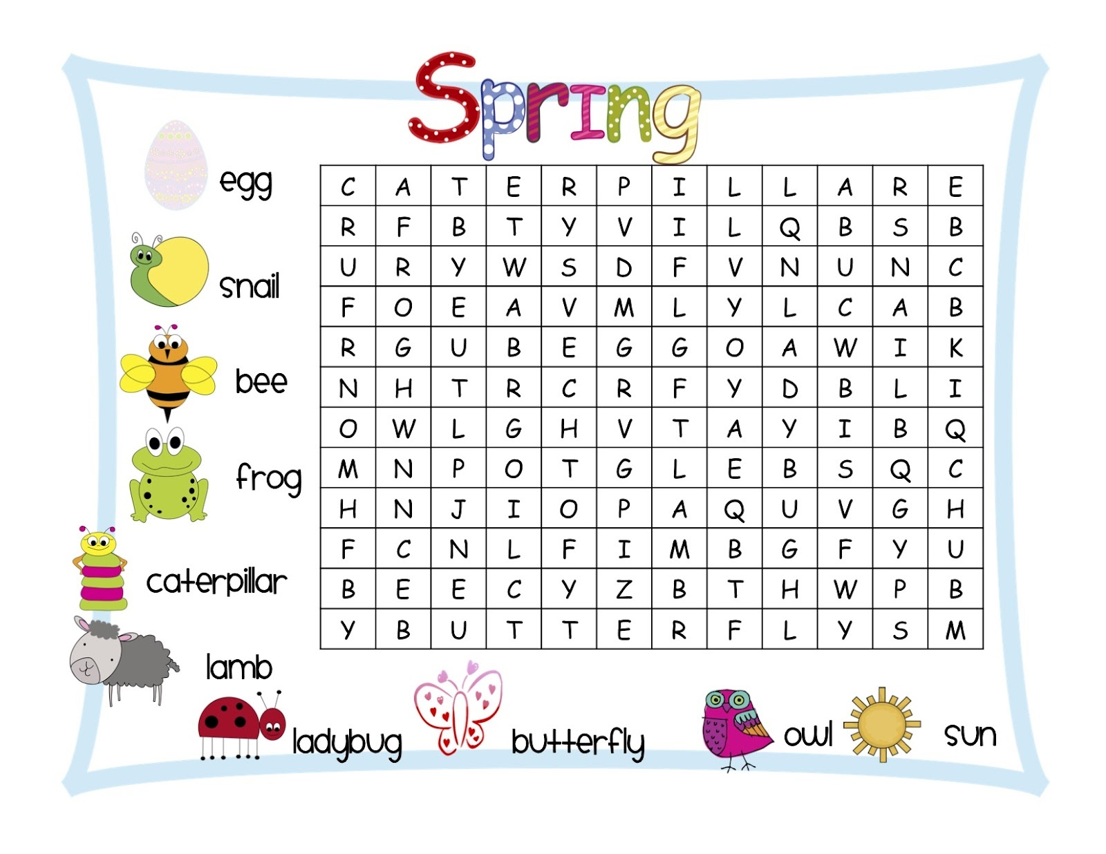Word Search Puzzles For Kids Printable