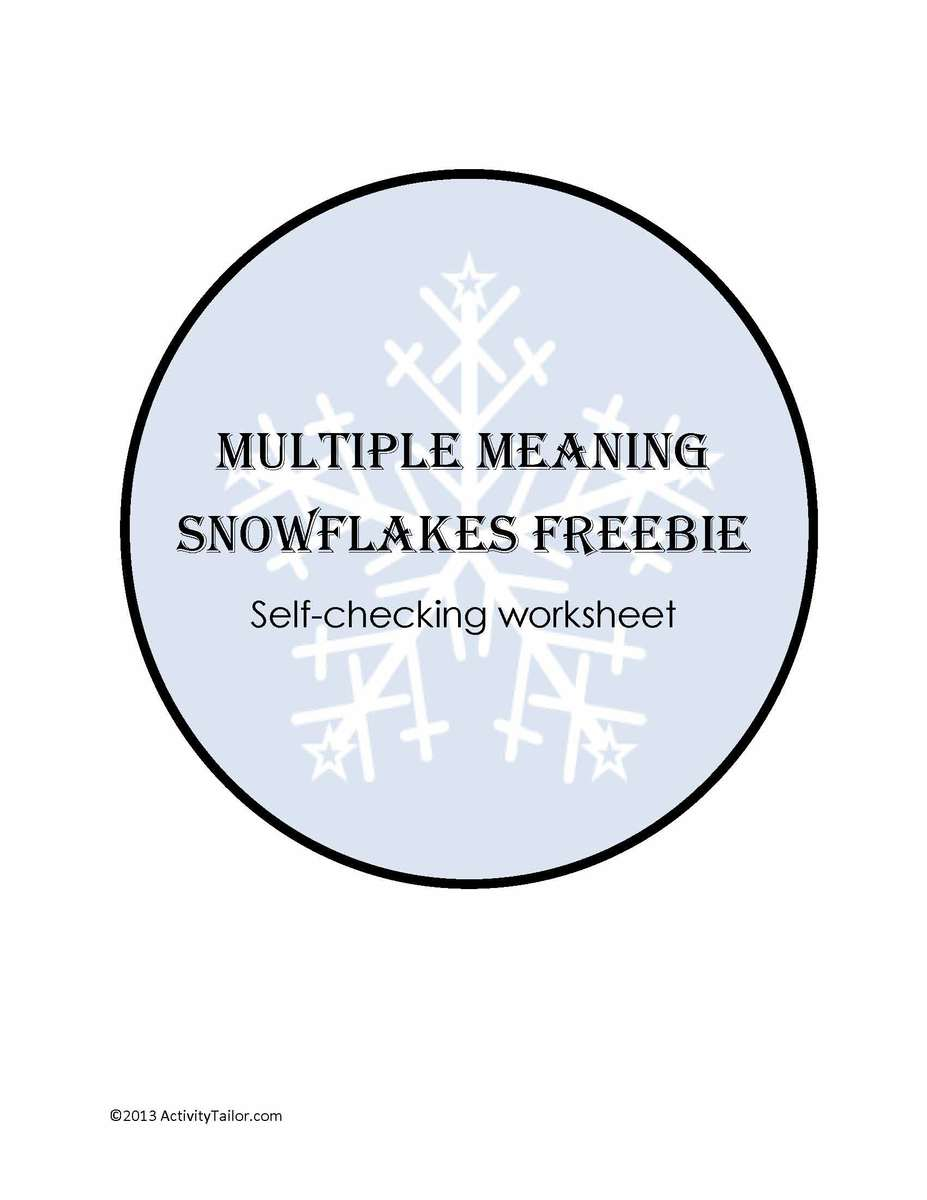Multiple Meaning Snowflakes Self Checking Worksheet