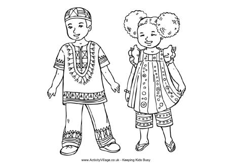 view and print african children colouring page pdf file