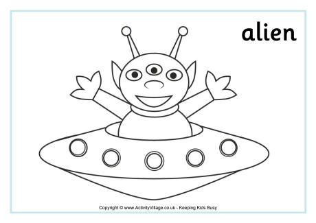 alien colouring page blank alien colouring page with word