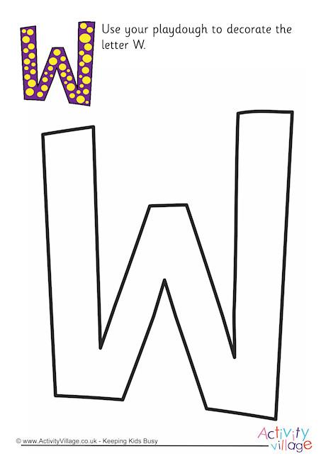 Alphabet Decorate The Letter W Playdough Mat Upper Case