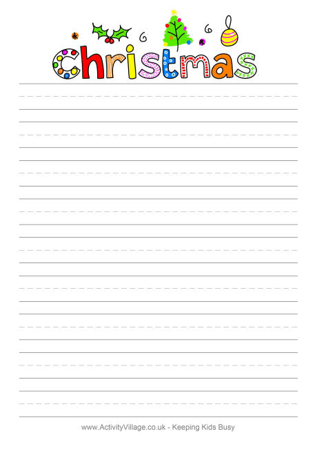urban pie printable christmas writing paper for kids 5 different