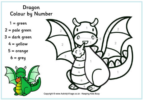 dragon colour by number