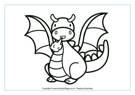 chinese dragon colouring page