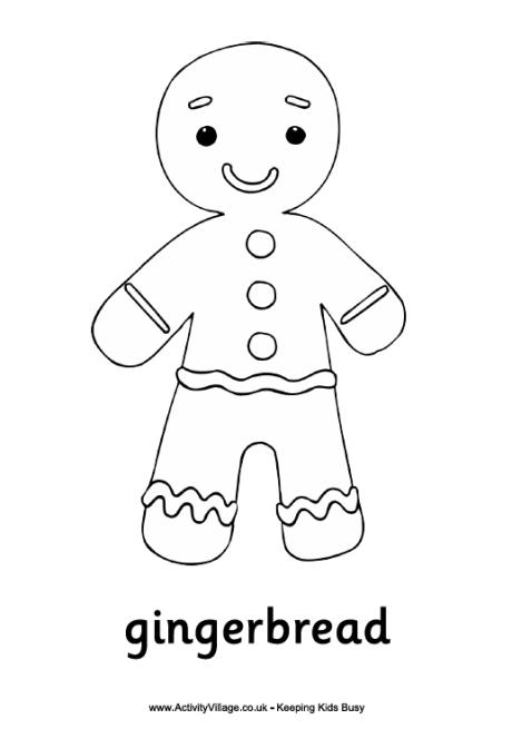 view and print gingerbread man colouring page pdf file