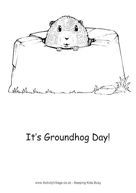 groundhog day colouring pages
