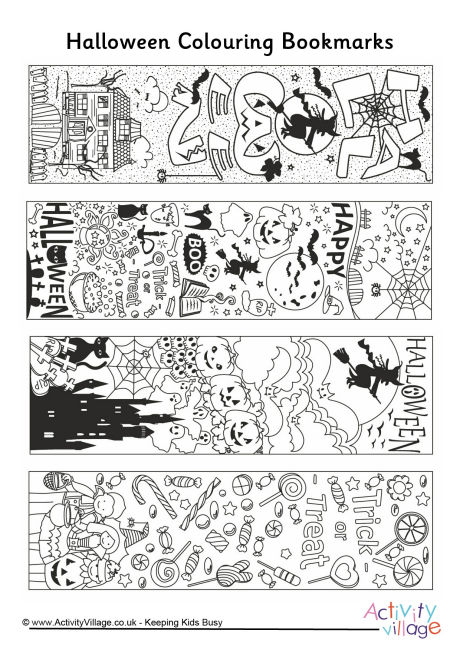 Halloween Doodle Colouring Bookmarks