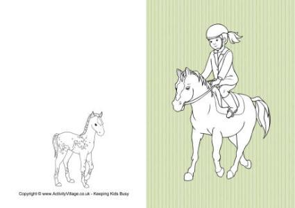 Horse Colouring Pages Horse Riding Colouring Card