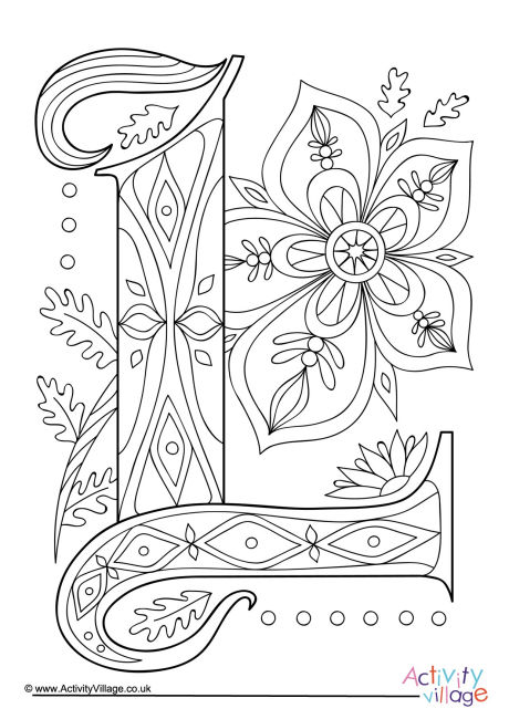 illuminated letter l colouring page