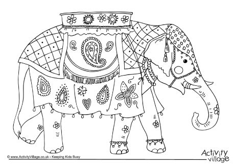 elephant colouring pages