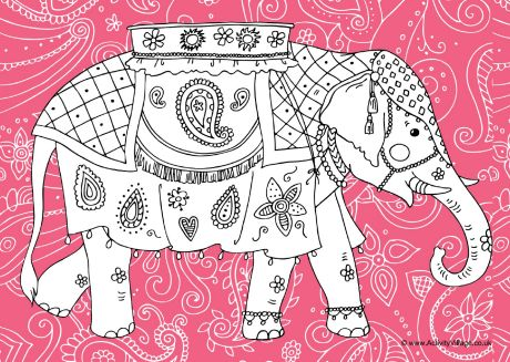 Indian Elephant Colouring Page 2