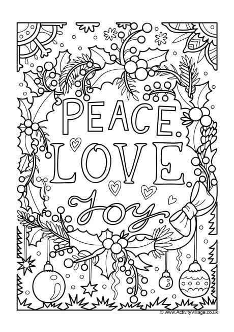 Peace Love Joy Colouring Page