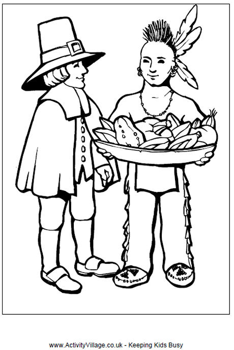 pilgrim and indian colouring page thanksgiving activities for kids
