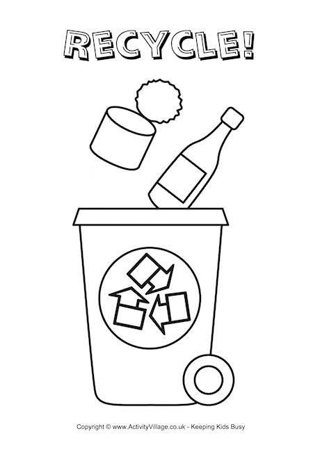 recycling colouring pages
