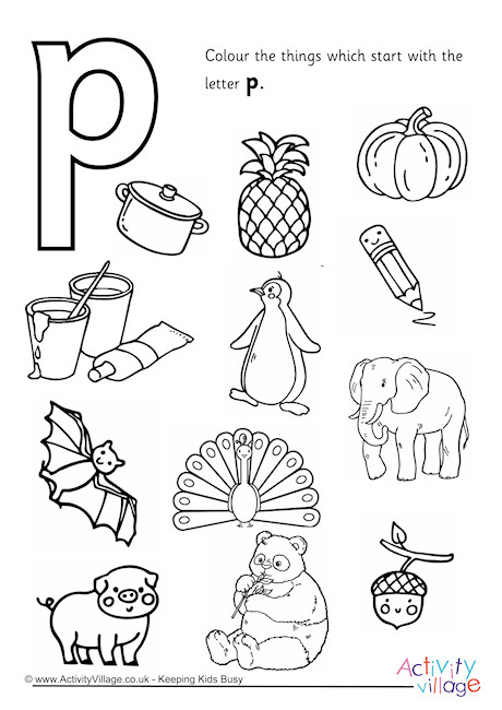 start  the letter p colouring page