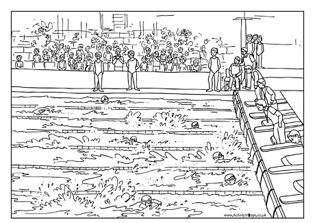 swimming race colouring page swimming gala