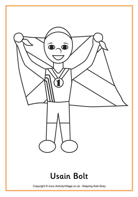 Usain Bolt Colouring Page