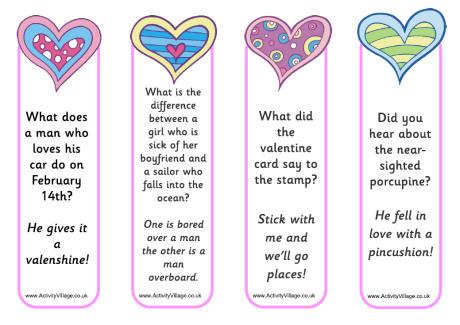 Valentines Jokes Bookmarks 2