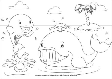 whales colouring and printables for kids