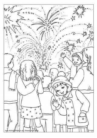 bonfire night colouring page 2