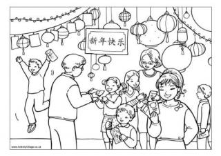 chinese new year colouring pages