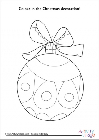 Christmas Decorations Colouring Pages